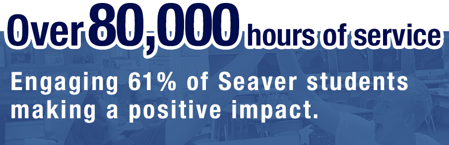Over 80,000 hours of service: Engaging 64% of Seaver students making a positive impact.
