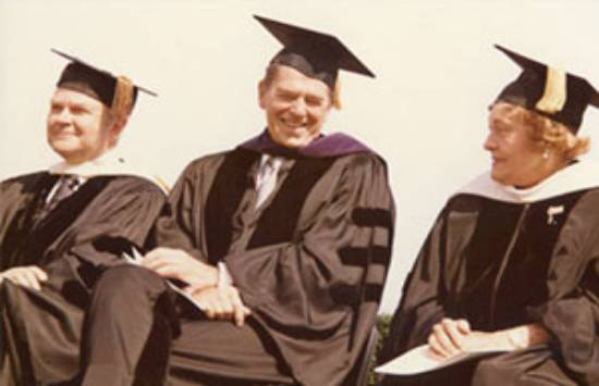 Norvel Young, Ronald Regan, and Blanche Seaver at Pepperdine graduation
