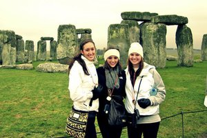 three Pepperdine students at Stonehenge