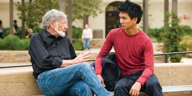 Pepperdine professor Jeff Banks with student