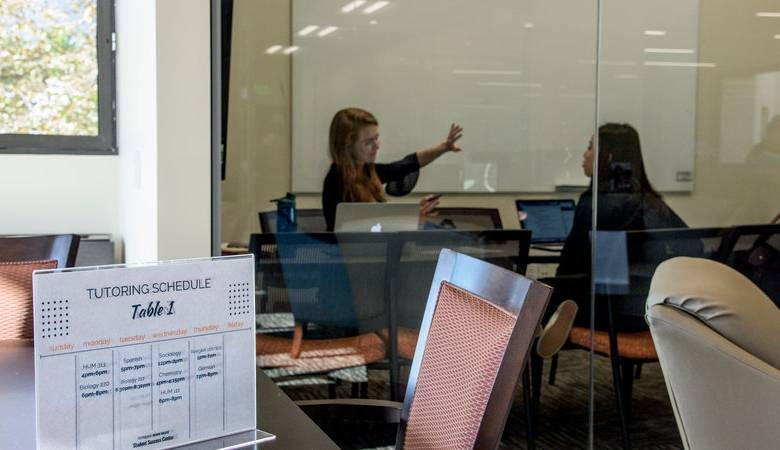 Student being tutored in the Student Success Center in Payson library