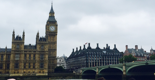Big Ben in London from the Thames River