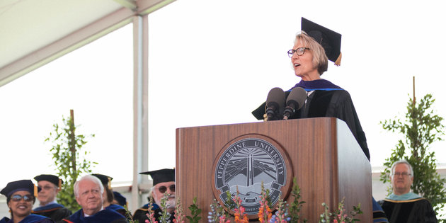 Sara Young Jackson delivering her commencement speech