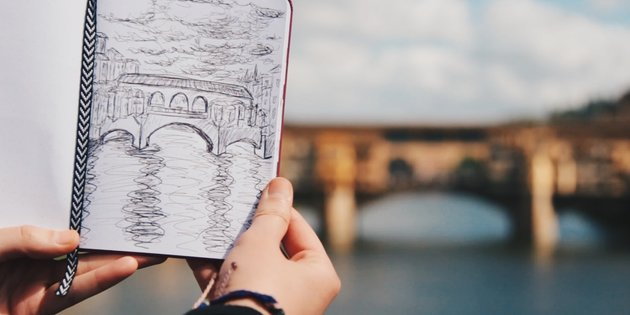 Drawing of the Ponte Vecchio bridge in Florence, Italy