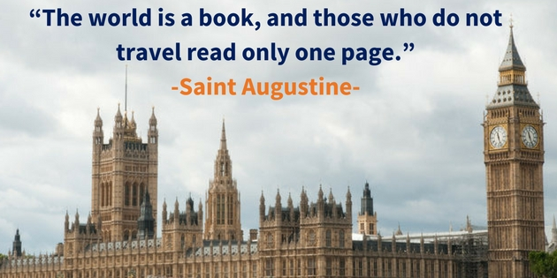 Study abroad image and Saint Augustine quote