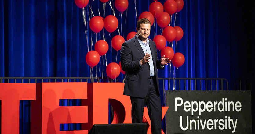 Distinguished Alumnus Nathan Mellor speaking at TEDxPepperdineUniversity