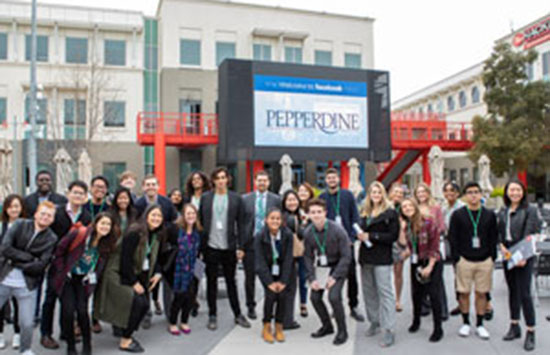 Pepperdine students attending a career event at Facebook's headquarters