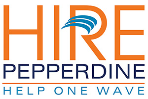 Hire Pepperdine logo with orange and blue text
