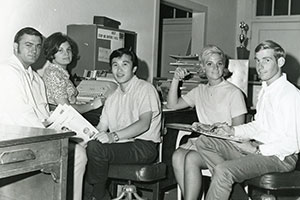 Student journalists pose in the Student Publications Office in 1970