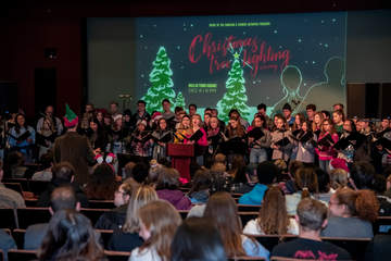 Students singing at the Christmas tree lighting ceremony