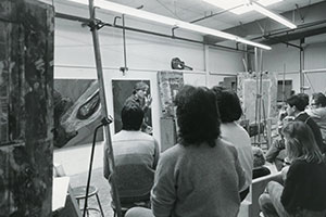 Joe Piasentin teaching art class c. 1985