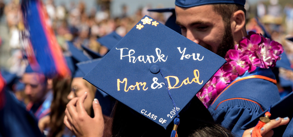 "Graduation cap reading ""Thank you Mom and Dad"""