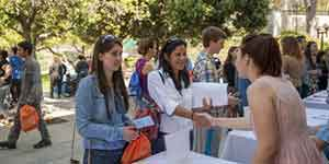 students at admissions fair