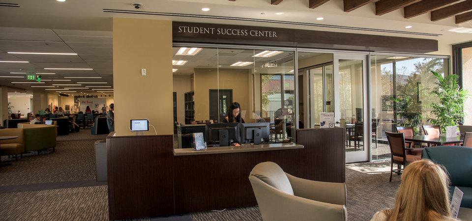Broad view of the Student Success Center from inside Payson Library