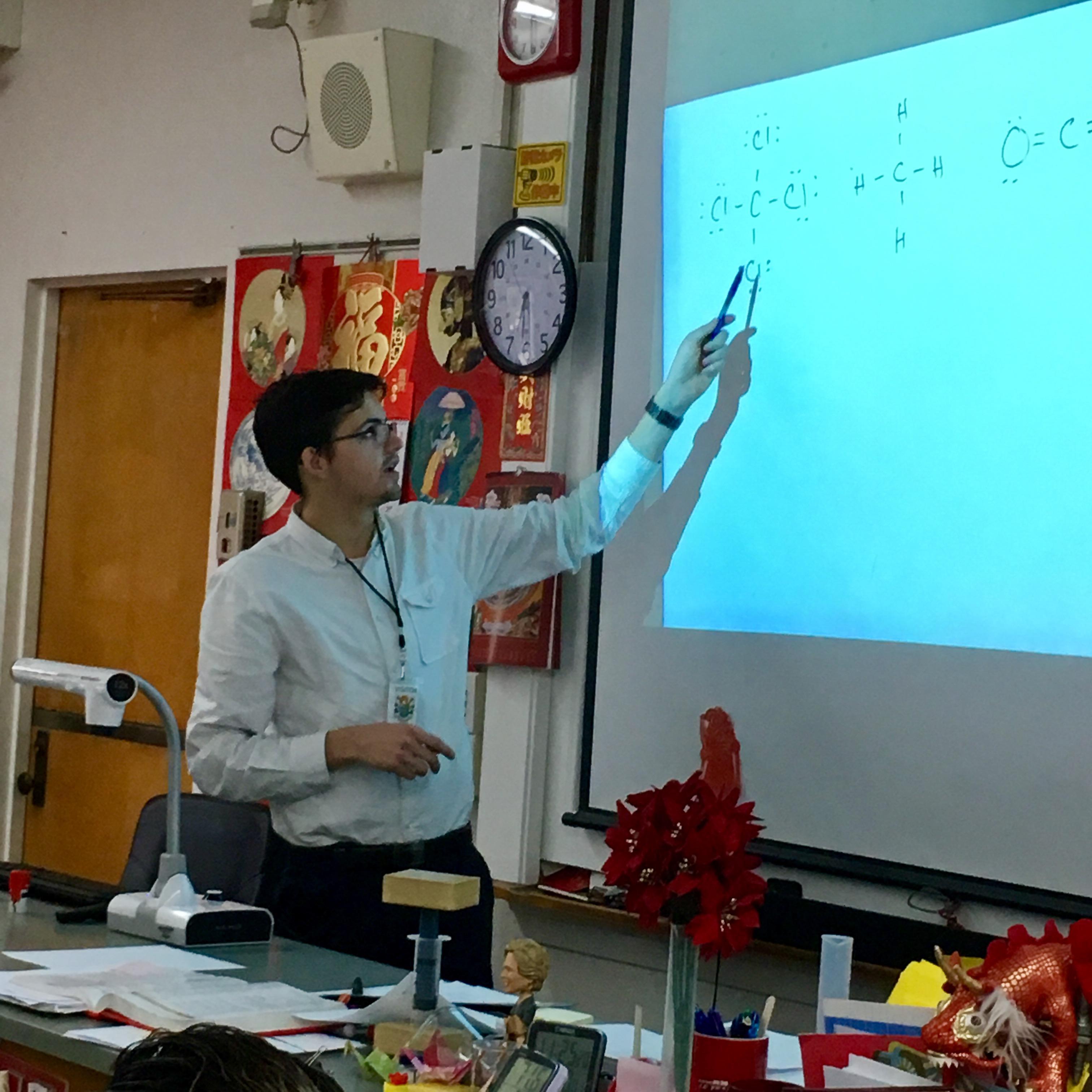 Teacher candidate instructing the class