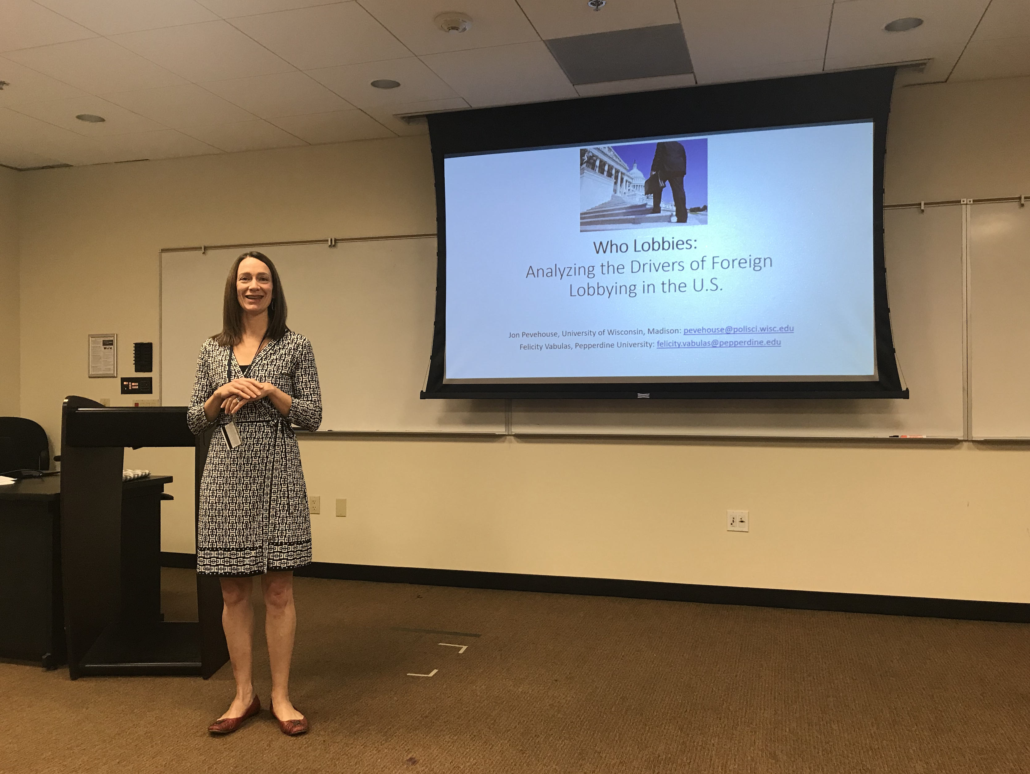 Dr. Vabulas presenting her research in a Pepperdine classroom