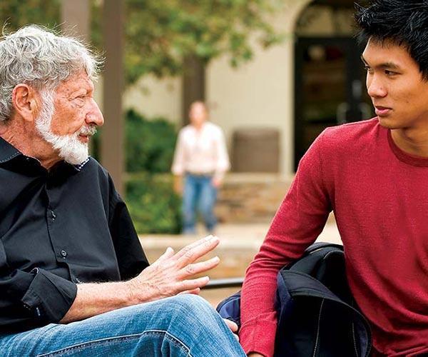 Seaver professor mentoring student