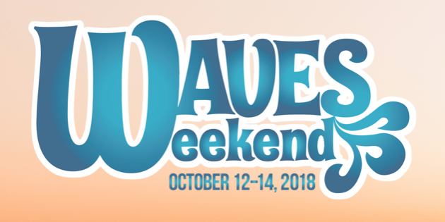 Waves Weekend logo with blue text