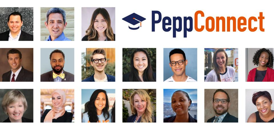 Pepp Connect logo composed of multiple boxes of alumni faces