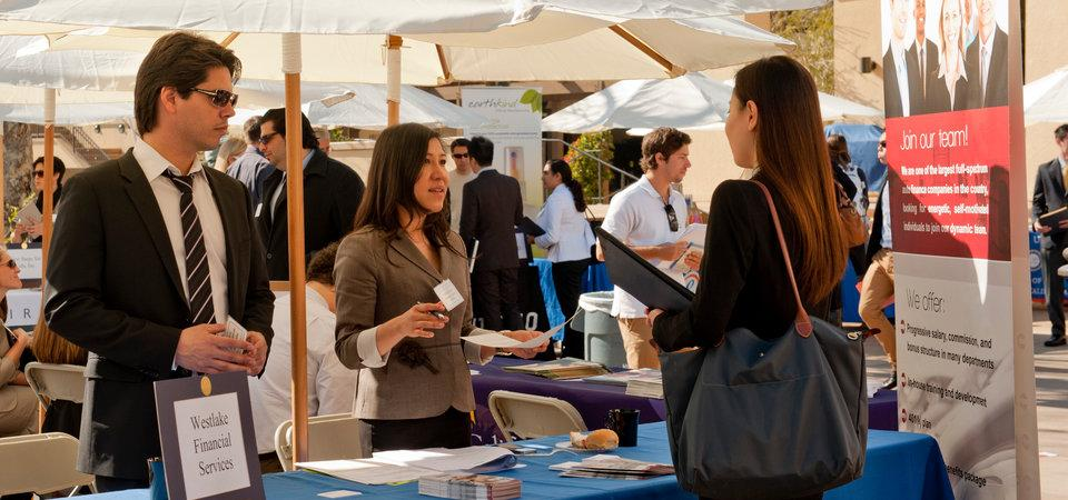 Business executives recruiting Pepperdine students on-campus