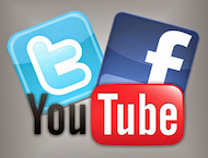 Social media logos of Twitter, Facebook, and Youtube
