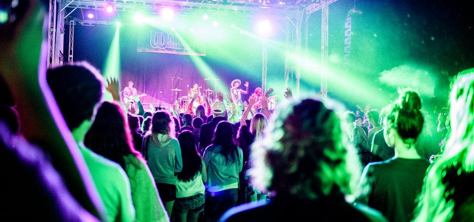 Photo of students attending the Waves Weekend concert with purple and green lights shining