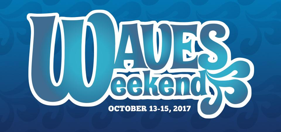 Waves weekend logo with a blue background and light blue text