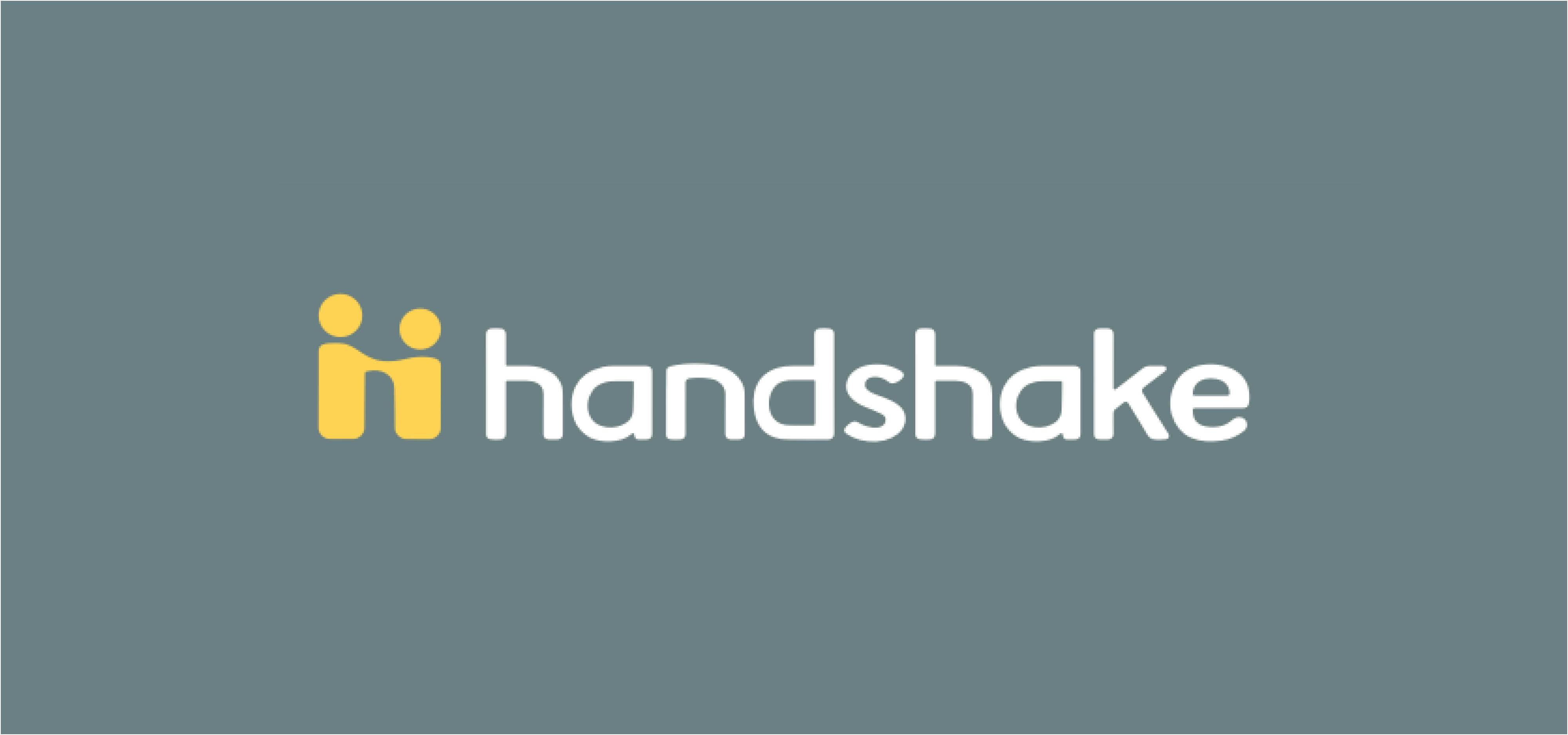 Logo for handshake-a gray square with two yellow icons shaking hands