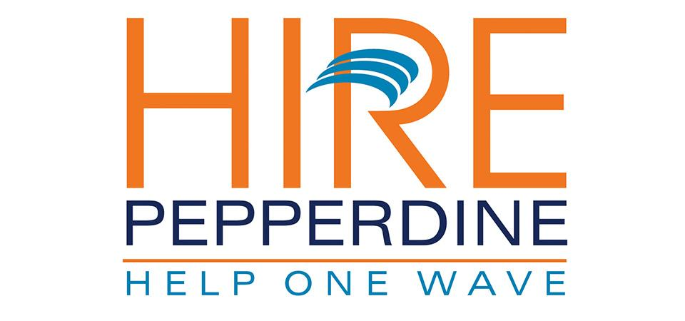 Hire Pepperdine logo featuring blue and orange text