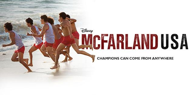 McFarland USA movie poster featuring men running on the beach
