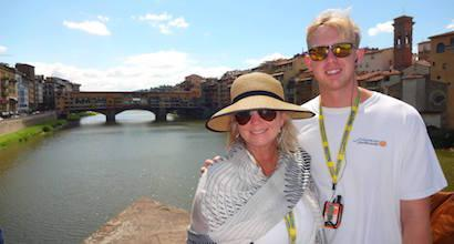 Seaver students standing in front of a bridge in Florence, Italy