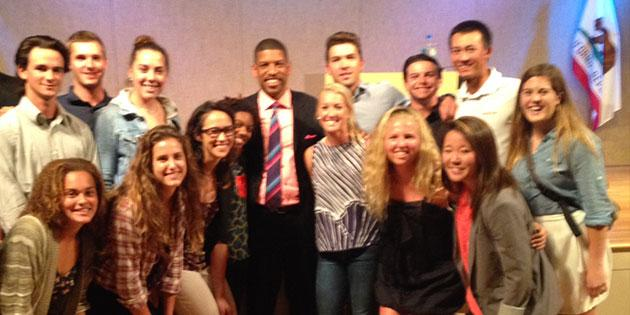 Sport administration students with former NBA star Kevin Johnson - Sport Administration Degree