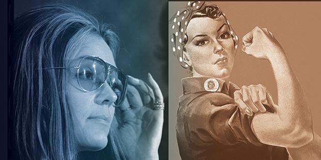 Gloria Steinem and Rosie the Riveter cartoon