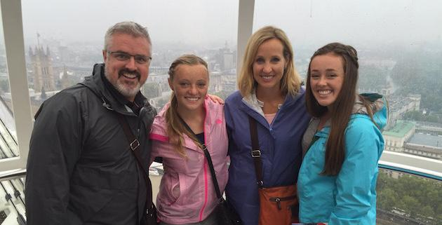 The Hunter family viewing the cityscape from the London Eye.