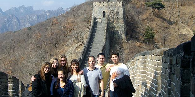 Asian studies students at the Great Wall in China