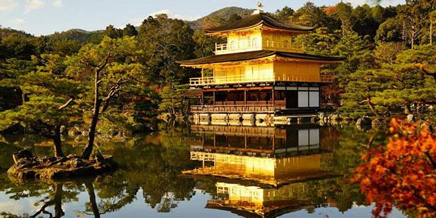 Kinkaku Golden Pavilion at dusk