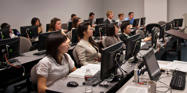 Engineering majors look to the front of the class during a lecture - Engineering Degree