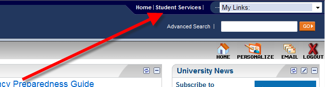 Location of Student Services link