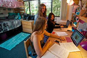 three Seaver students in campus residence