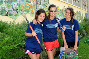 three Pepperdine students at Step Forward Day