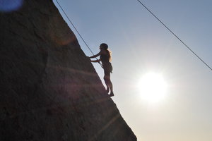 Pepperdine student rock climbing